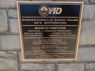 Warner-Carrillo Ranch House 2012 Restoration Plaque image. Click for full size.