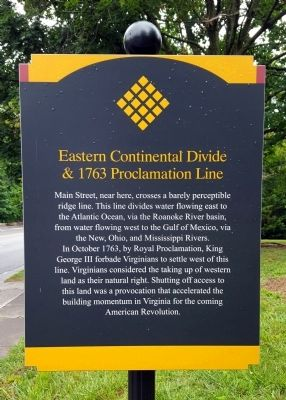 Eastern Continental Divide & 1763 Proclamation Marker image. Click for full size.