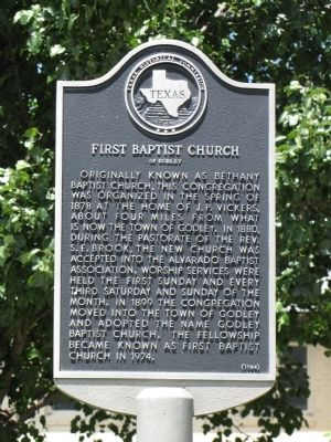 First Baptist Church of Godley Texas Historical Marker image. Click for full size.