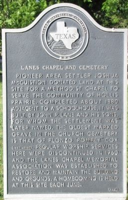 Lanes Chapel and Cemetery Texas Historical Marker image. Click for full size.
