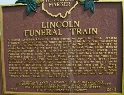 Lincoln Funeral Train Marker image. Click for full size.