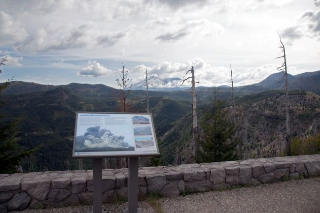 The Earth�s Monumental Power Marker with Mount St. Helens in the Distance image. Click for full size.