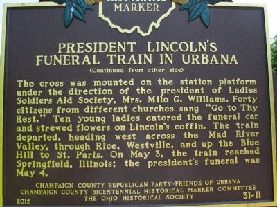 President Lincoln�s Funeral Train in Urbana Marker image. Click for full size.