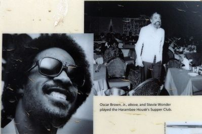 Oscar Brown Jr. (above) and Stevie Wonder played Harambee House's Supper Club. image. Click for full size.