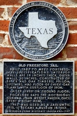 Old Freestone Jail Marker image. Click for full size.