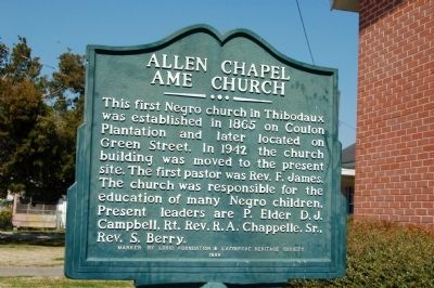 Allen Chapel AME Church Marker image. Click for full size.