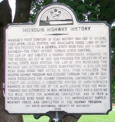 Missouri Highway History Marker image. Click for full size.