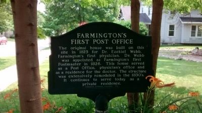 Farmington's First Post Office Marker image. Click for full size.
