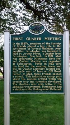 First Quaker Meeting Marker image. Click for full size.