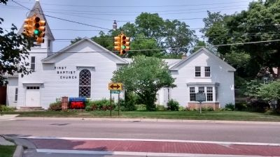 The Village Center Marker and First Baptist Church of Farmington image. Click for full size.