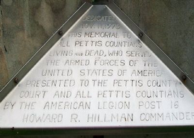 Pettis County Veterans Memorial Marker image. Click for full size.