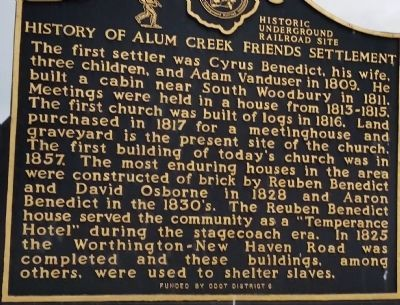 History of Alum Creek Friends Settlement Marker image. Click for full size.