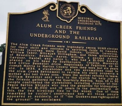 Alum Creek Friends and the Underground Railroad Marker image. Click for full size.
