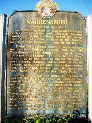 Warrensburg Marker (back) image. Click for full size.