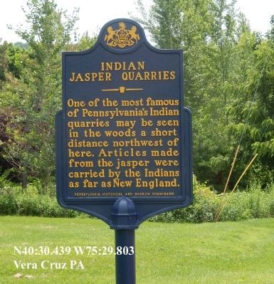 Indian Jasper Quarries Marker not far from the park image. Click for full size.