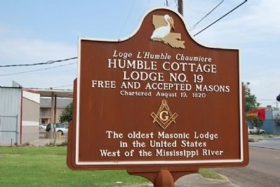 Humble Cottage Lodge No. 19 Marker image. Click for full size.