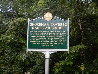 Shoreham Covered Railroad Bridge Marker image. Click for full size.
