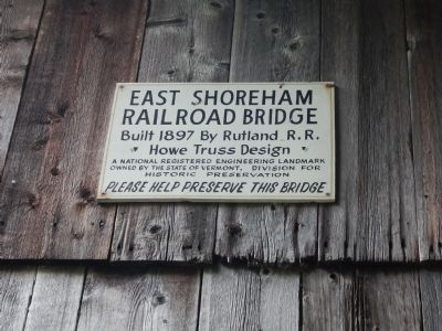 Sign inside Shoreham Covered Railroad Bridge image. Click for full size.