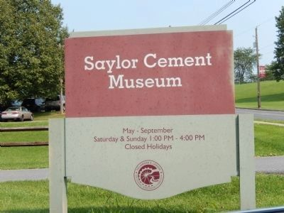 Sign at the entrance to the Saylor Cement Museum image. Click for full size.