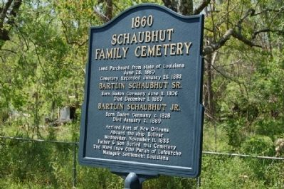 1860 Schaubhut Family Cemetery Marker image. Click for full size.