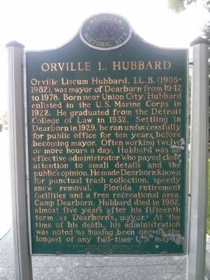 Dearborn City Hall Complex / Orville L. Hubbard Marker image. Click for full size.