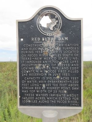 Red Bluff Dam Marker image. Click for full size.