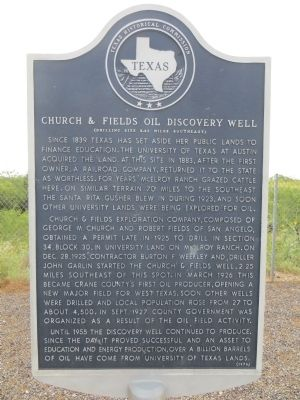 Church and Fields Oil Discovery Well Marker image. Click for full size.