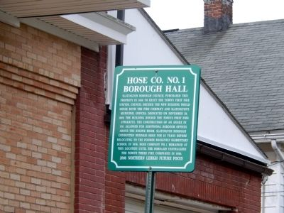 Hose Co. No. 1 Borough Hall Marker image. Click for full size.