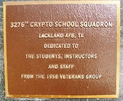3276th Crypto School Squadron Marker image. Click for full size.