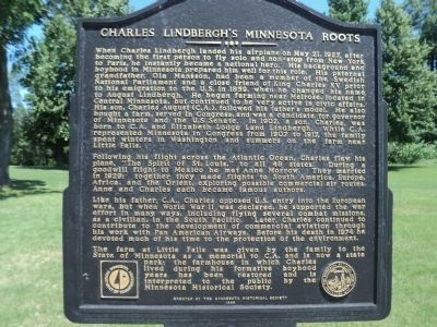 Charles Lindbergh's Minnesota Roots Marker image. Click for full size.