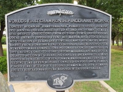 World's First Championship Jackrabbit Roping Marker image. Click for full size.