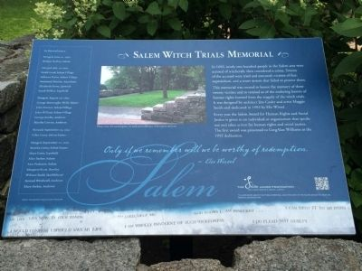 The Salem Witch Trials Memorial Marker image. Click for full size.