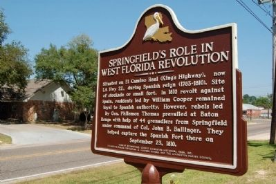 Springfield's Role in West Florida Revolution Marker image. Click for full size.