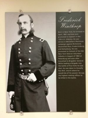 Exhibit on Frederick Winthrop inside the Five Forks Visitor Center image. Click for full size.