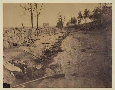 Stone wall, rear of Fredericksburg with rebel dead image. Click for full size.