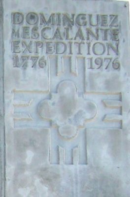 Closeup of Upper Right, Dominguez y Escalante Expedition Marker image. Click for full size.