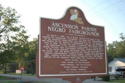 Ascension Parish Negro Fairgrounds Marker (Side 2) image. Click for full size.
