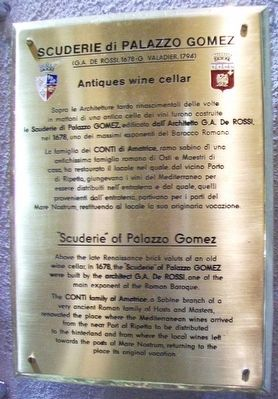 Gomez Palace Stables / Scuderie di Palazzo Gomez Marker image. Click for full size.