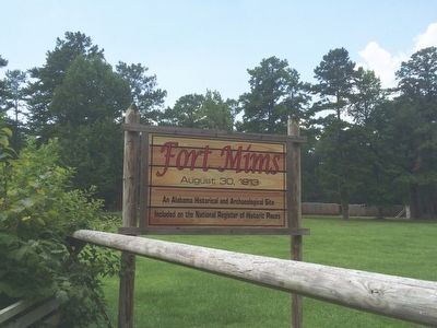 Fort Mims entrance sign image. Click for full size.