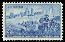 1951 US stamp honoring the Cadillac exploration. image. Click for full size.