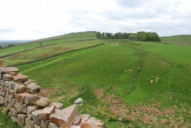 View of Steel Rigg Carpark from atop Hadrian's Wall image. Click for full size.