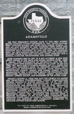 Adamsville Texas Historical Marker image. Click for full size.