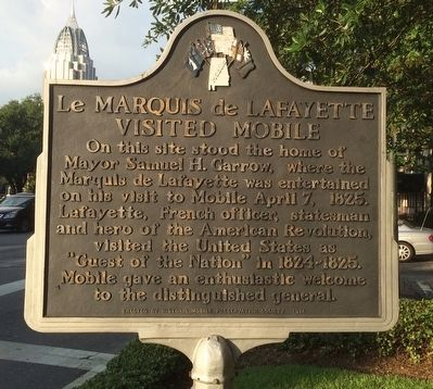 Le Marquis de Lafayette visited Mobile Marker image. Click for full size.