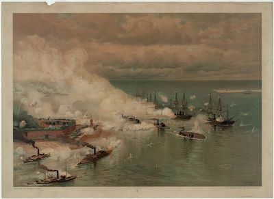 Battle of Mobile Bay painting. image. Click for full size.