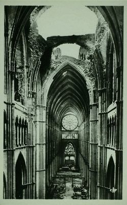 Cathedral interior post-bombardment image. Click for full size.