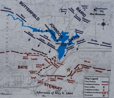 The Battle of Mill Creek Gap Marker Map image. Click for full size.
