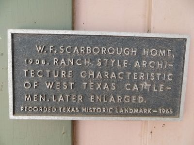 W. F. Scarborough Home Marker image. Click for full size.