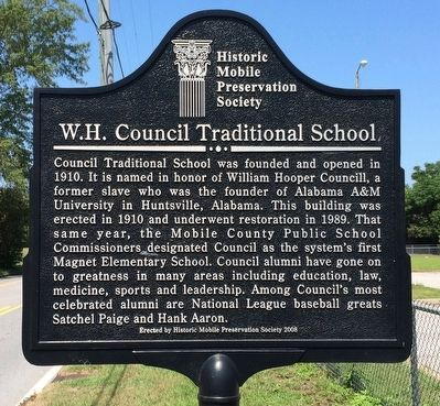 W.H. Council Traditional School Marker image. Click for full size.