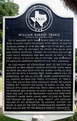 William Barret Travis Marker image. Click for full size.