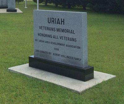Uriah Veterans Memorial Marker image. Click for full size.